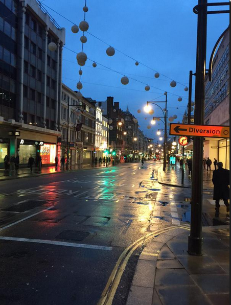 View of Oxford street, noticeably quiet
