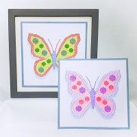 Spotty butterfly shadow effect modern print and stitch on card hand embroidery paper pricking download pattern.