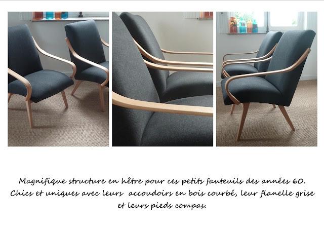 Paire de fauteuils vintage scandinave gris