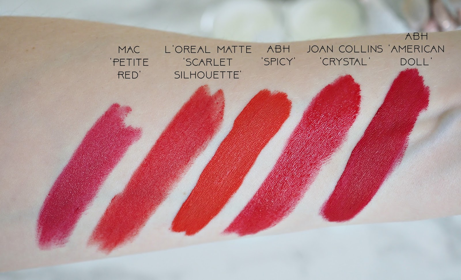 My 5 favourite red lipsticks swatches including MAC, ABH, Loreal and Joan Collins