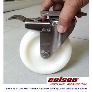 Bánh xe đẩy có khóa PA càng inox 304 Colson 5 inch | 2-5456-254-BRK4 www.banhxedayhang.net