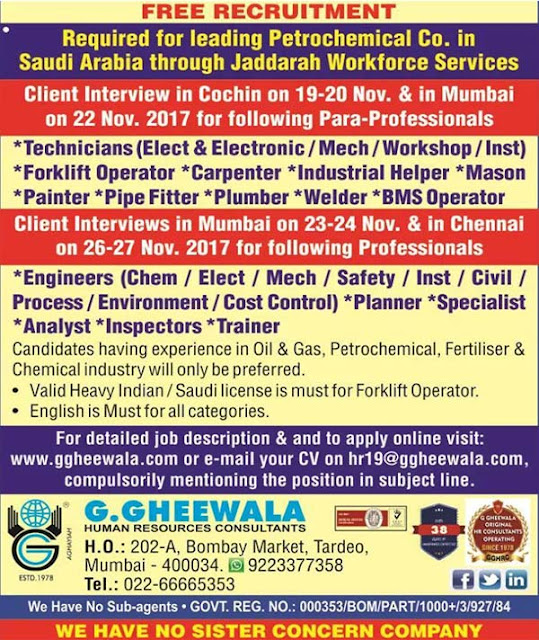 Jobs in Petrochemical Company | Jaddarah Workforce Services | G.Gheewala I Interview in Mumbai & Chennai