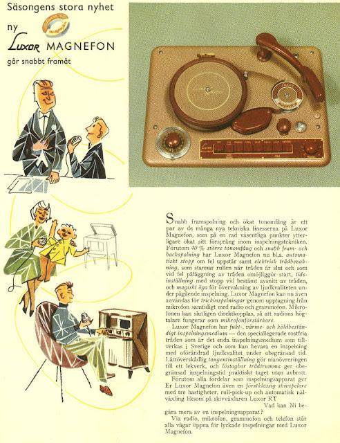 Campanha publicitária ao gravador de fio mostrando os seus usos