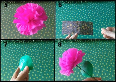 Gambar Tutorial Membuat Bunga Indah dari Kertas Krep 2