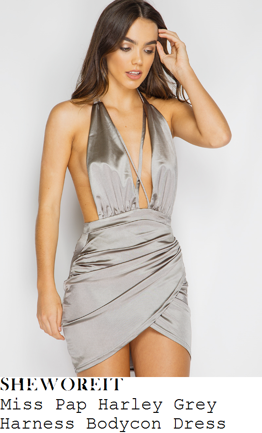 kady-mcdermott-miss-pap-harley-metallic-grey-silver-sleeveless-halterneck-plunge-front-open-back-harness-detail-draped-asymmetric-bodycon-mini-dress