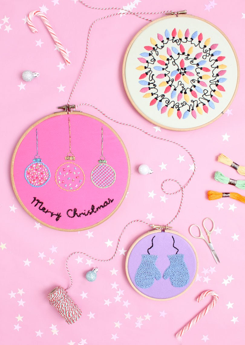 festive christmas embroidery hoop art