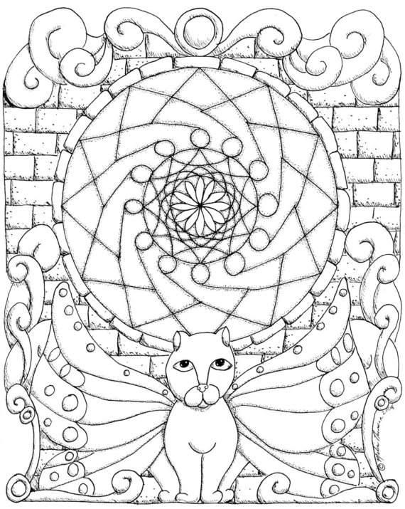 Mandala Madness: A Fun Cat Mandala To Color