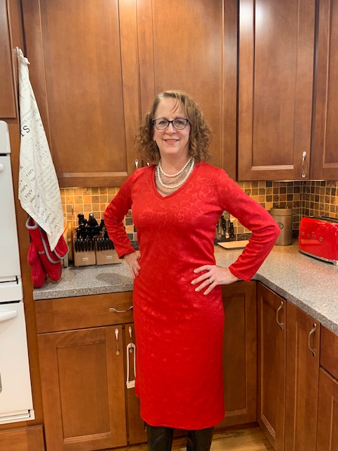 Picture of  Sue of ILove2sew for the 2019 Day and Night Dress Challenge bloggers&  vloggers