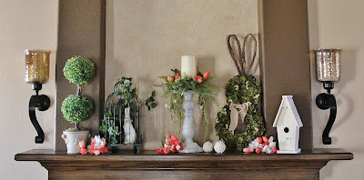 Spring and Easter mantel decorating
