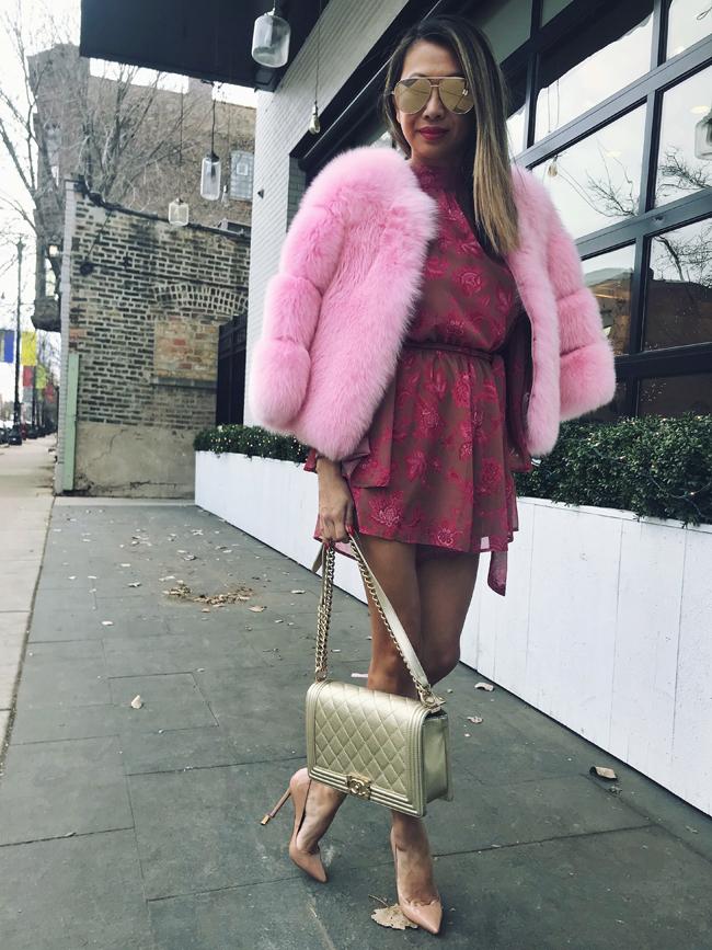 Pink Fur, Spring floral romper, Chicago Style Blogger, Summer House Santa Monica