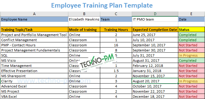 Employee Training Plan Template Excel