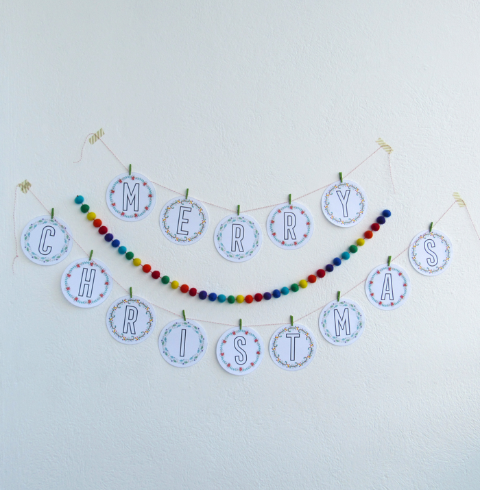 Free printable Merry Christmas garland, home decor, holidays decorations, color wheel inspired, color love