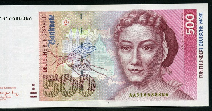 German currency 500 Deutsche Mark banknote 1991 Maria Sibylla MerianWorld Banknotes  Coins