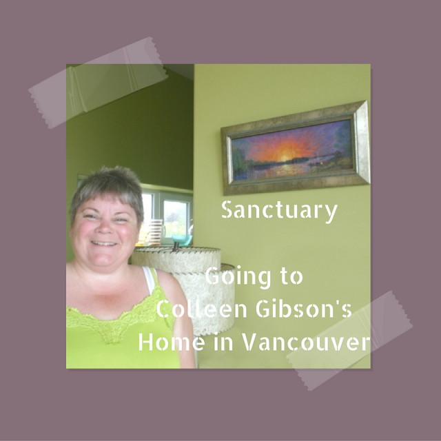 Colleen Gibson standing beside her new painting Sanctuary by Minaz Jantz