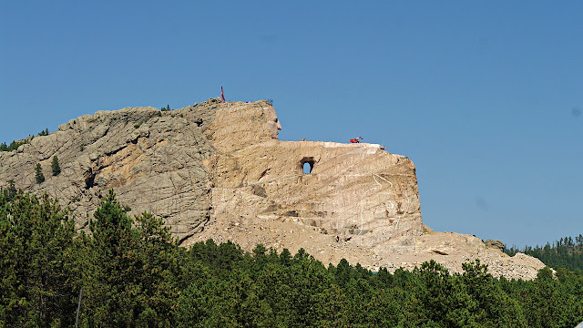 Crazy Horse Memorial taking shape out of Thunderhead Mountain...
