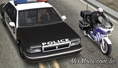 gta sa mod cop car wanted level star perseguição carro da polícia