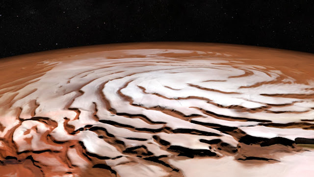 Swirling spirals at the north pole of Mars