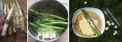 Zubereitung Pfannkuchen mit Spargeln, Schinken und Sauce Hollandaise