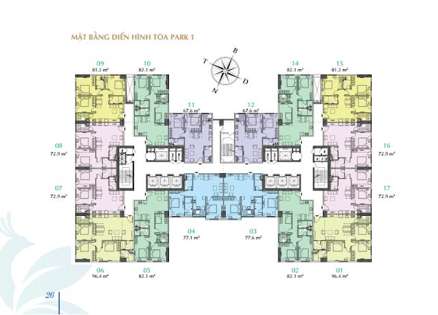 Mặt bằng thiết kế căn hộ tòa PARK - 1