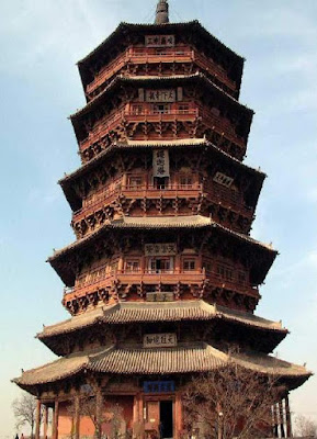 The Sakyamuni Pagoda of Fogong Temple (1056 AD), is the oldest and highest wooden construction in the world. The 5-tier, octagonal structure is 67 m high.