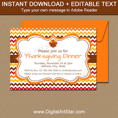 Thanksgiving Invitation Template with Chevron