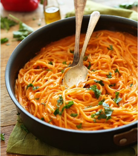 VEGAN ROASTED RED PEPPER PASTA #vegetarian #pasta