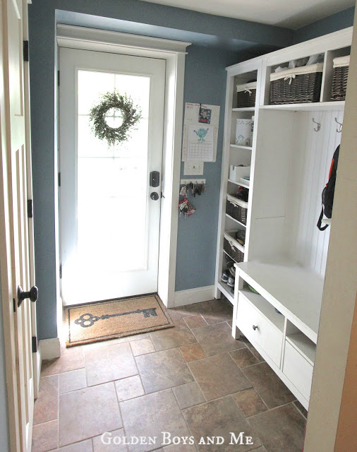 Ikea Hack mudroom with Hemnes shelves, bead board and Benjamin Moore Labrador Blue paint via www.goldenboysandme.com