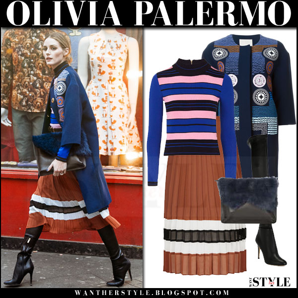 Olivia Palermo in blue embroidered peter pilotto attica coat, striped topshop sweater and brown striped topshop pleat midi skirt what she wore fashion week london