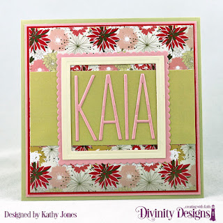 Divinity Designs Custom Dies: Long & Lean Letters, Squares, Scalloped Squares, Paper Collection: Beautiful Blooms