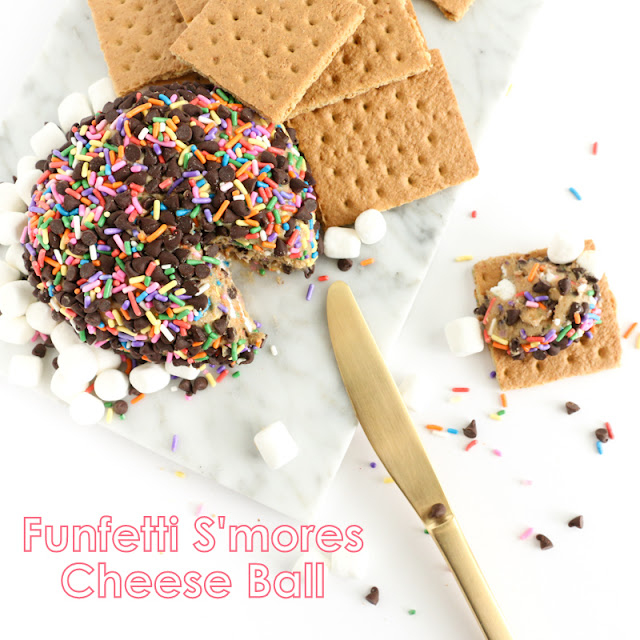 Funfetti S'mores cheeseball - Graham crackers and Marshmallow fluff cookie butter with rainbow sprinkles - easy party food