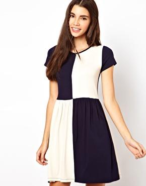 Navy and cream Asos Tea Dress