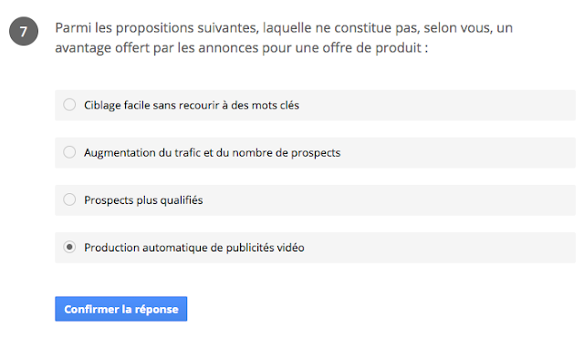 la production automatique de publicité vidéo ne constitue pas un avantage offert par les annonce pour une offre produit ? certification google partners réseau de recherche