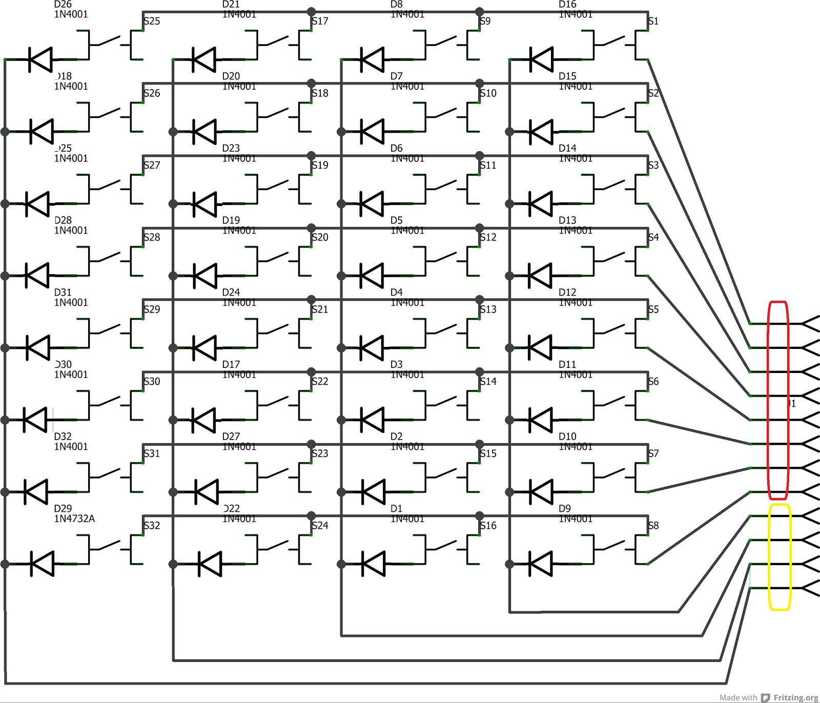 keys pcb schematic columns red and rows yellow  [ 1600 x 1372 Pixel ]