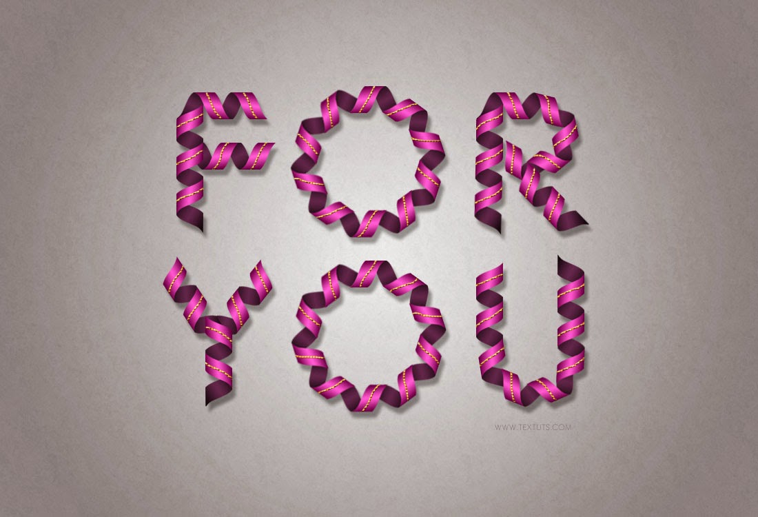 Curled Ribbon Text Effect Photoshop Tutorial