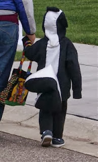 diy skunk costume from sweatsuit