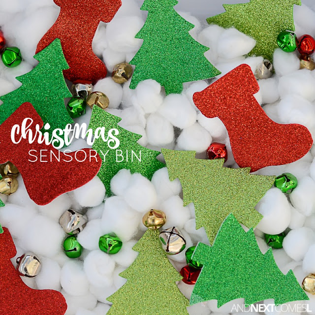 Easy Christmas sensory bin idea for kids from And Next Comes L