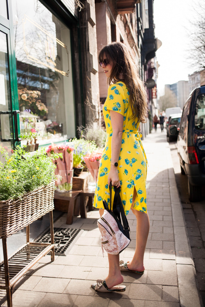 outfit: yellow floral vintage dress, mules