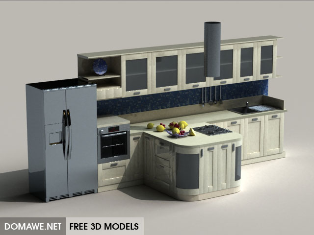 DOMAWE net: Kitchen Furniture Set 21 - Free 3D Models