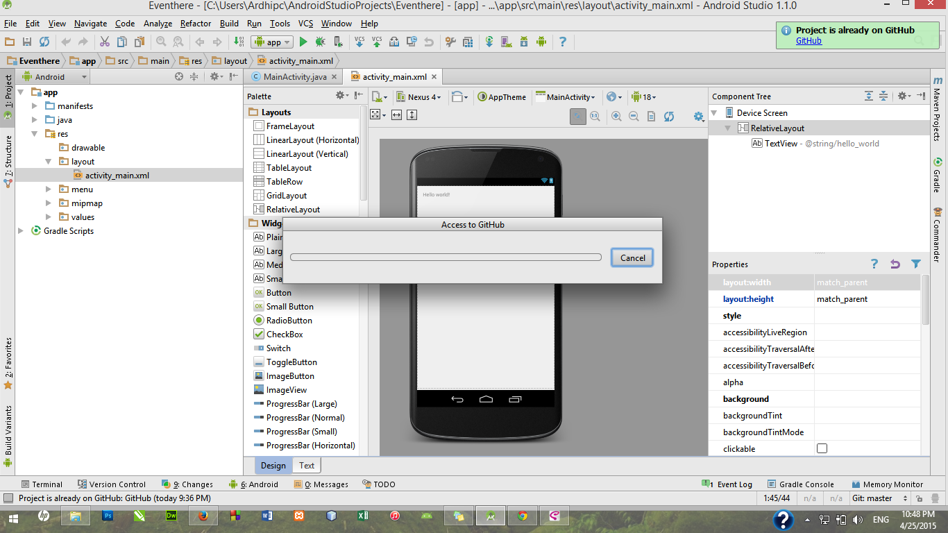 How to Join android apps on github using Android Studio [GITHUB]