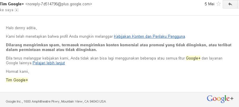 Surat Peringatan Dari Google+