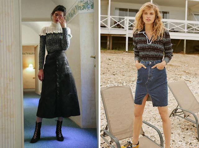 Джемпер, заправленный в кожаную юбку и юбку из денима