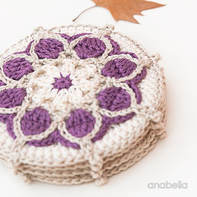 Anabelia craft design: Winter Flowers crochet coasters, crochet ...