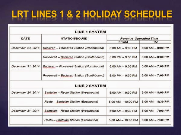 LRT 1 and 2 holiday 2014 schedule