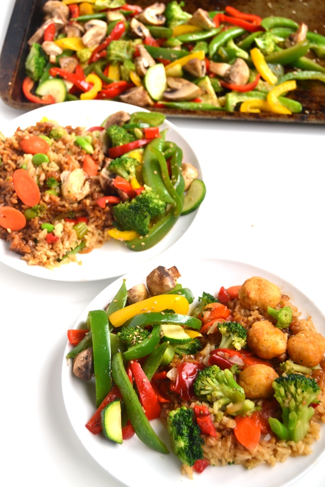 Asian Roasted Vegetables features a mix of bell peppers, zucchini, peapods, mushrooms and broccoli with a sesame-soy dressing that makes the perfect side dish! www.nutritionistreviews.com