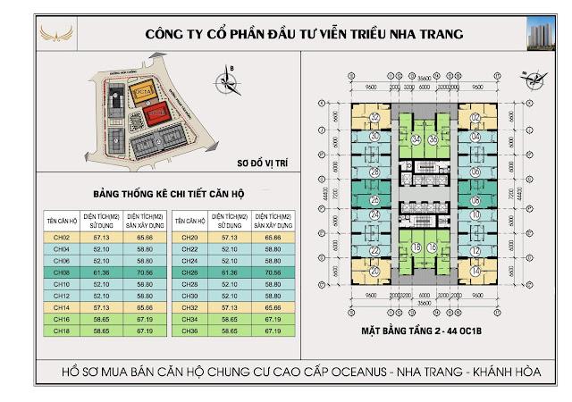 Mặt bằng tổng thể tòa OC1B Viễn Triều Nha Trang