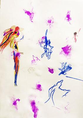 детский рисунок  силуэт девушки, абстракция, проект 100 дней