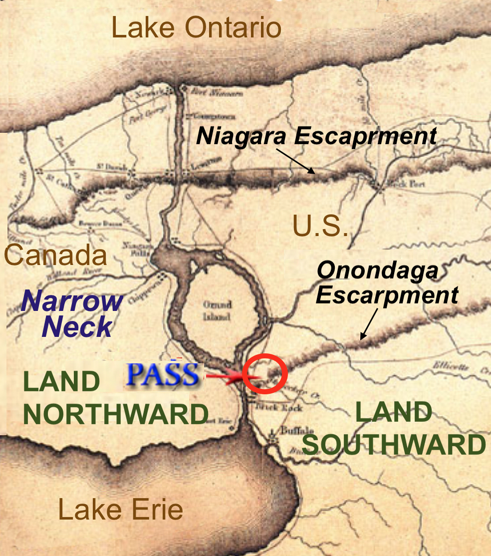great lakes theorists narrow pass is claimed to be a passage through the red circle slender onondaga escarpment this so called pass does not lead into