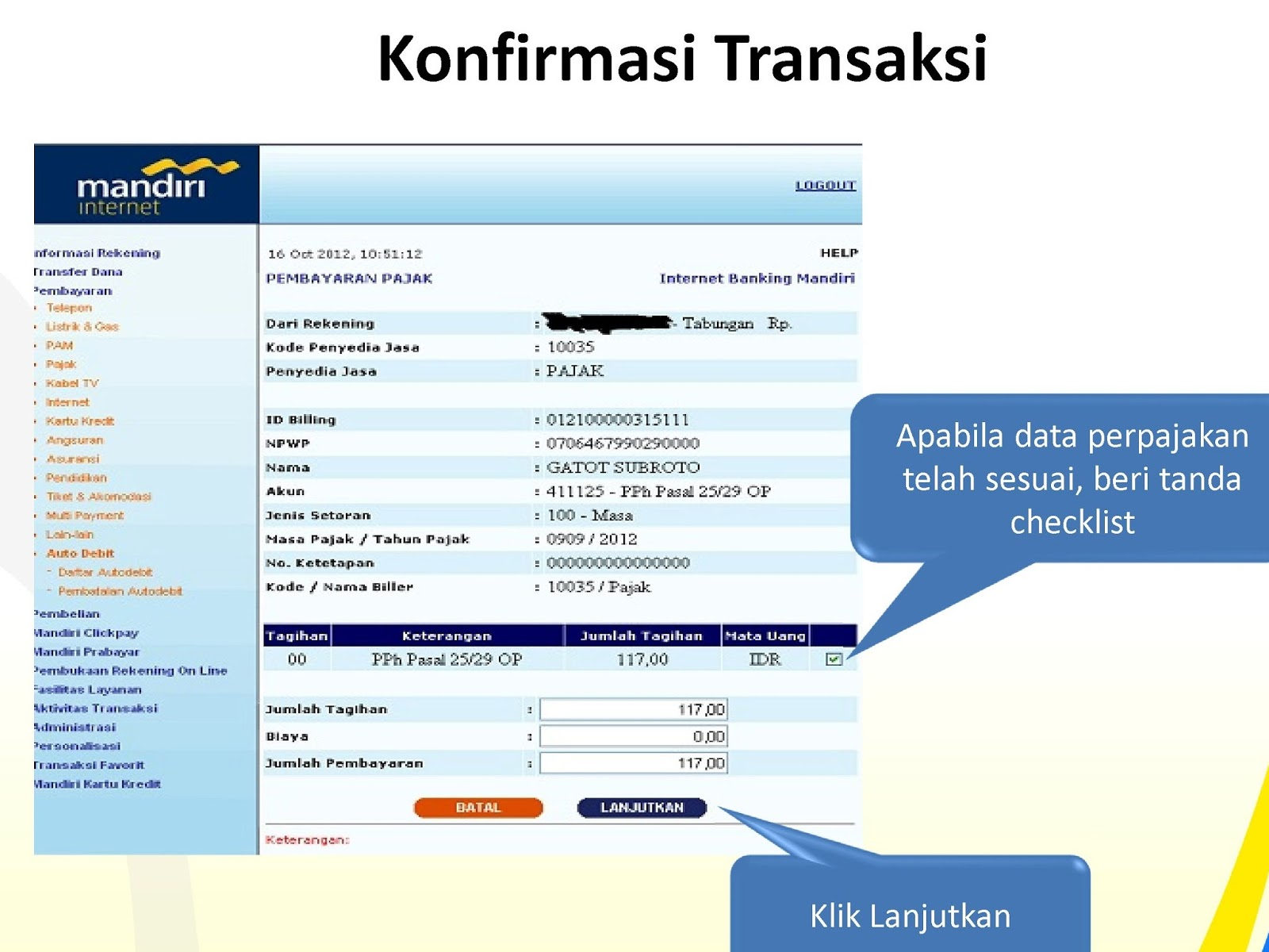 Pajeg Lempung: Bayar - Bayar ID Billing yang sudah dibuat
