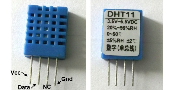 DHT11 RHT01 humidity and temperature sensor pin
