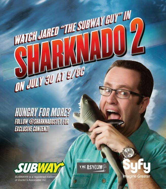 Sharknado product placement Subway Jared